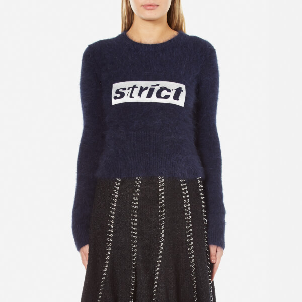 Alexander Wang Women's Shrunken Pullover with Embroidery Graphic - Navy