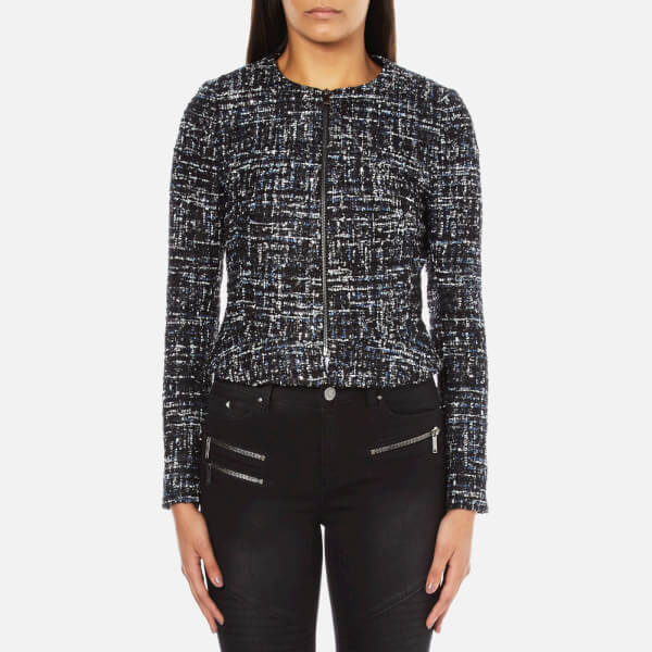 Karl Lagerfeld Women's Sparkle Boucle Jacket With Zip - Total Eclipse