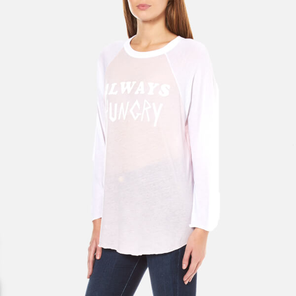 Wildfox Women's Always Hungry Rebel Raglan Long Sleeve Top - Pouty Pink/Clean White
