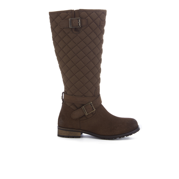 Barbour Women's Holford Waxy Suede Quilted Knee Boots - Brown