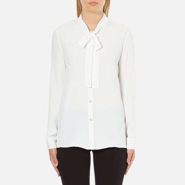 Boutique Moschino Women's Chic Shirt Tie Blouse with Pearl Buttons - White