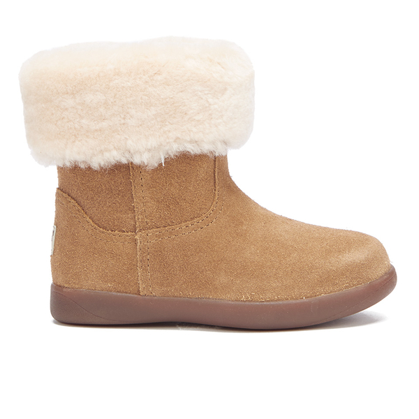 UGG Toddlers' Jorie II Sheepskin Collar Suede Boots - Chestnut