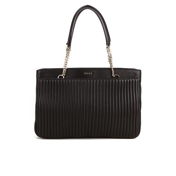 DKNY Women's Gansevoort Pinstripe Quilted Shopper Tote Bag - Black
