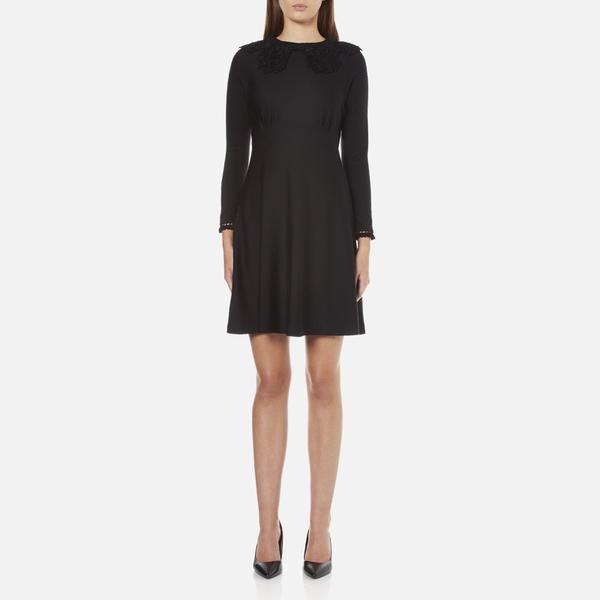 Marc Jacobs Women's Long Sleeve Dress with Crochet Collar - Black