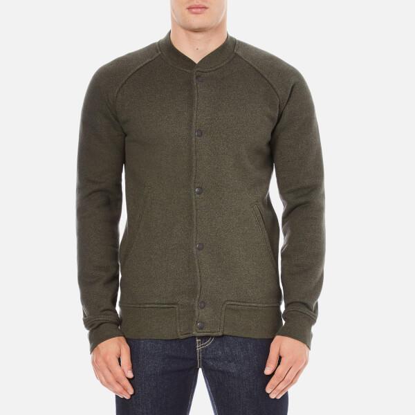 Levi's Men's Fleece Bomber Jacket - Chain Olive Night/Black Chain Yarn