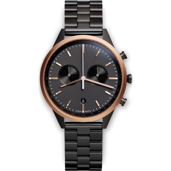 Uniform Wares Men's C41 Pvd Black Linked Bracelet Wristwatch - Black