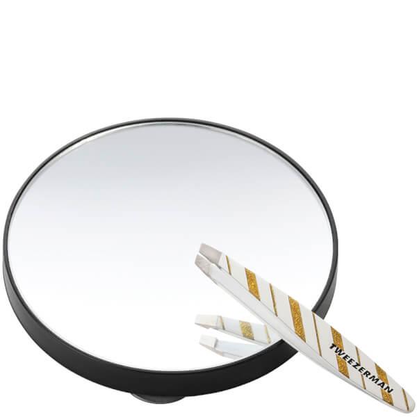 Tweezerman Mini Merry and Bright Slant Tweezer and 10X Lighted Mirror