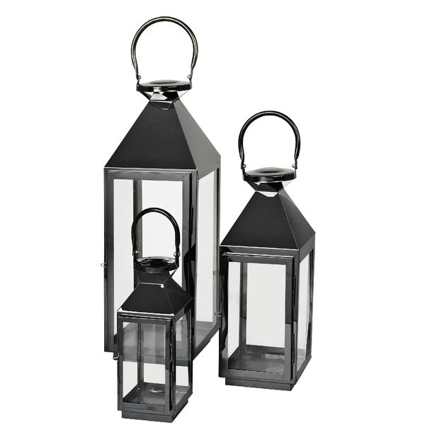 Broste Copenhagen Frit Outdoor and Indoor Lanterns - Black (Set of 3)