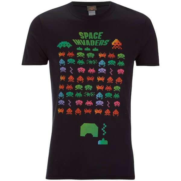 Atari Men's Space Invaders Rainbow Arcade Game T-Shirt - Black