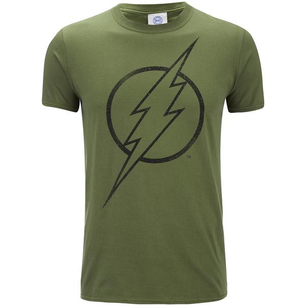 DC Comics Men's The Flash Line Logo T-Shirt - Military Green