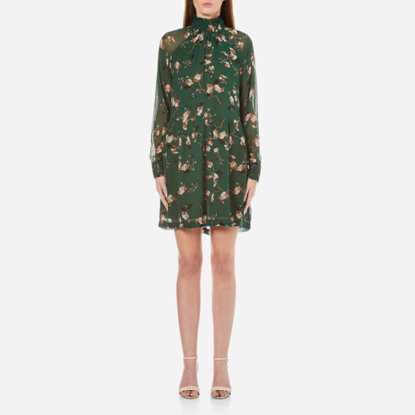 Ganni Women's Marietta Georgette Dress - Pine Grove Leaves
