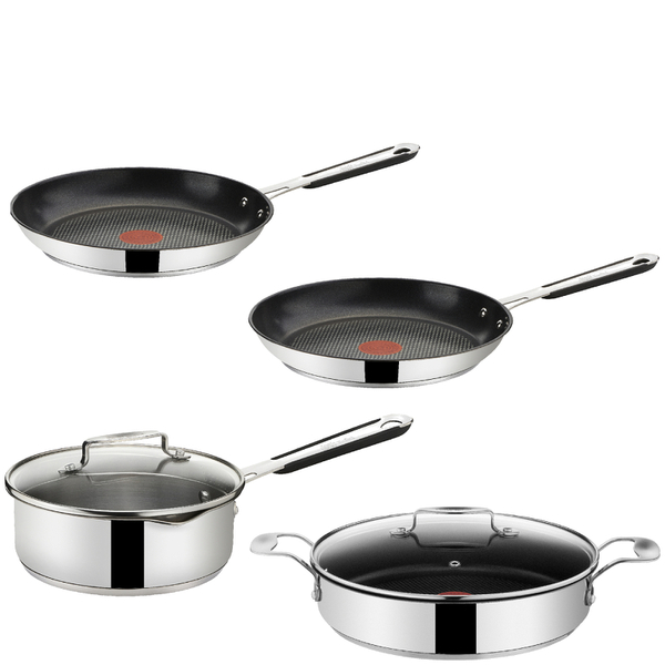 jamie oliver by tefal stainless steel 4 piece pan set iwoot. Black Bedroom Furniture Sets. Home Design Ideas