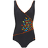 Zoggs Women's Neon Tribal Wrap Front Swimsuit - Black/Multi: Image 1