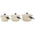 Le Creuset Cast Iron 3 Piece Saucepan Set - Almond: Image 4