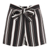 Lavish Alice Women's Stripe Tie Side Shorts - Black/Cream/Burgundy: Image 2