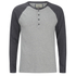 Brave Soul Men's Rasmus Grandad Long Sleeved Top - Light Grey/Charcoal: Image 1