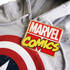 Marvel Men's Captain America Sheild Hoody - Light Grey Marl: Image 3
