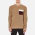 MSGM Men's Contrast Pocket Knitted Jumper - Brown: Image 1