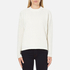 Maison Scotch Women's High Neck Sweatshirt With Special Textured Woven Front - White: Image 1