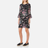 Ganni Women's Bartlett Georgette Flared Sleeve Dress - Black Bouquet: Image 2