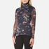 Ganni Women's Delaney Mesh High Neck Top - Black Bouquet: Image 2