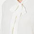Boutique Moschino Women's Chic Shirt Tie Blouse with Pearl Buttons - White: Image 5