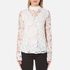 Perseverance Women's 3D Embroidered Paisley Top with Bell Sleeves and High Collar - White: Image 1