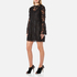 Perseverance Women's Drop Waist 3D Embroidered Mini Dress with Flare Sleeves - Black: Image 2