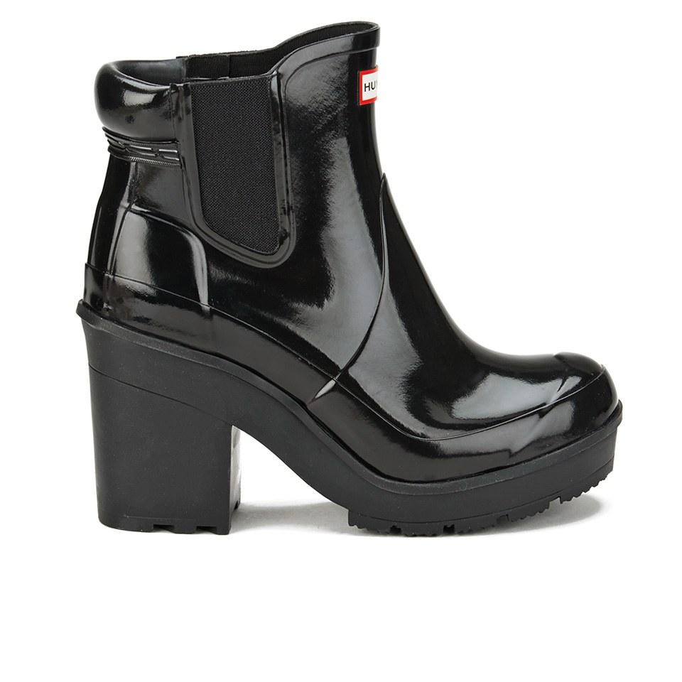 hunter women 39 s original block heeled gloss chelsea boots black clothing. Black Bedroom Furniture Sets. Home Design Ideas