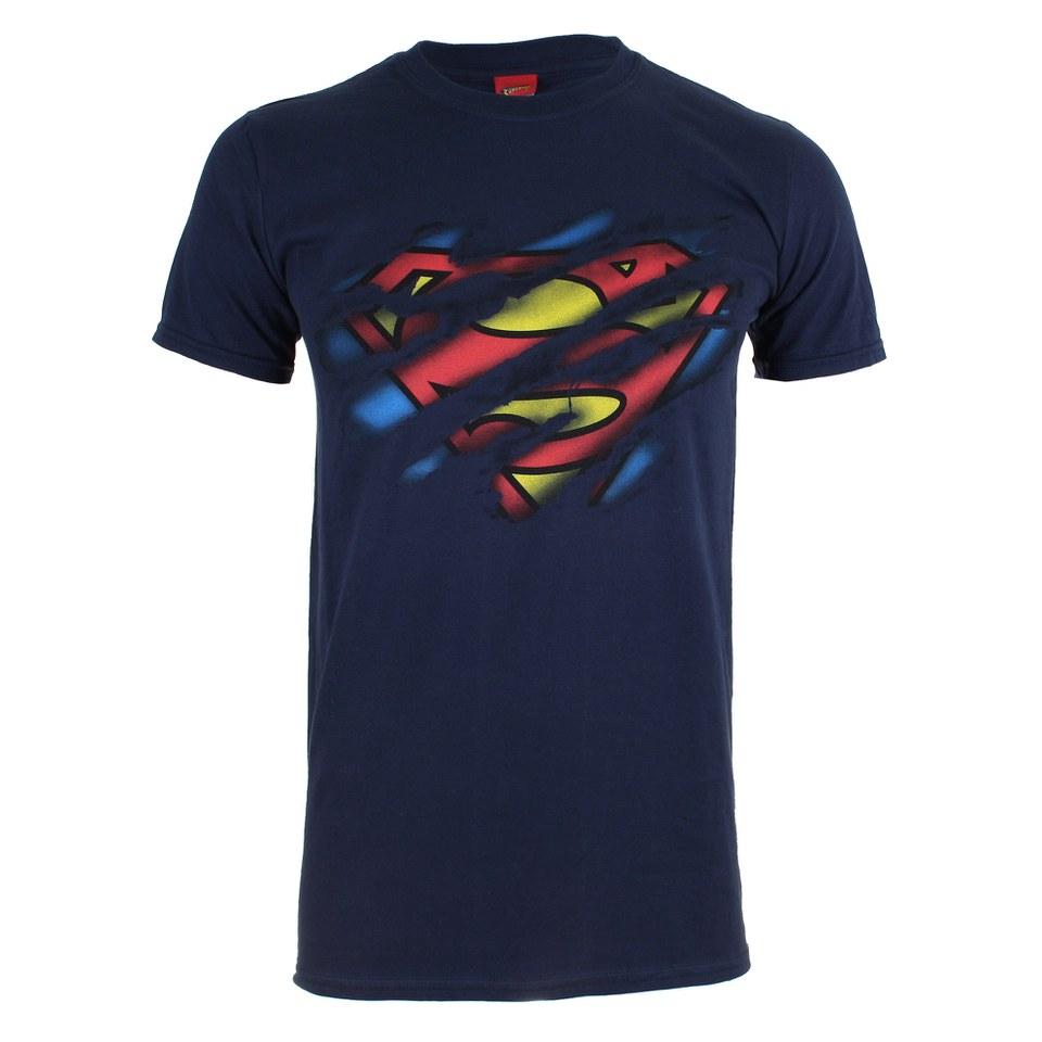 dc comics men 39 s superman torn logo t shirt navy ebay. Black Bedroom Furniture Sets. Home Design Ideas