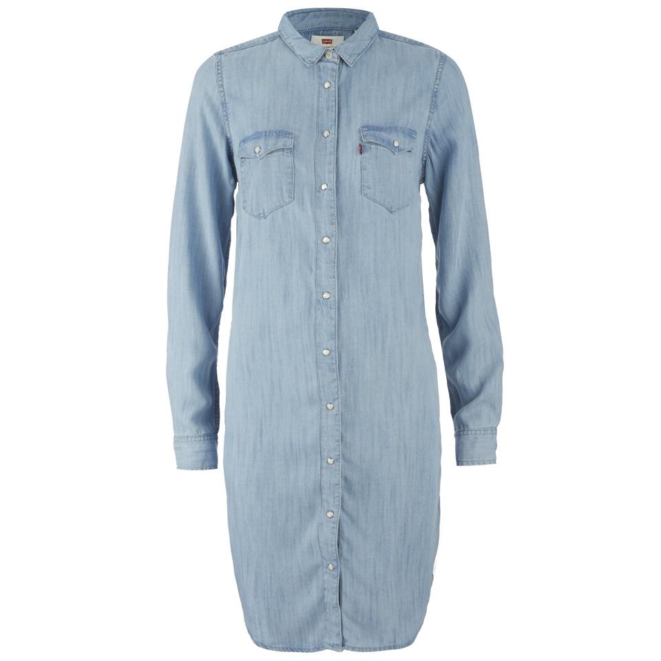 Levi 39 s women 39 s iconic western dress tencl denim light for Ladies light denim shirt