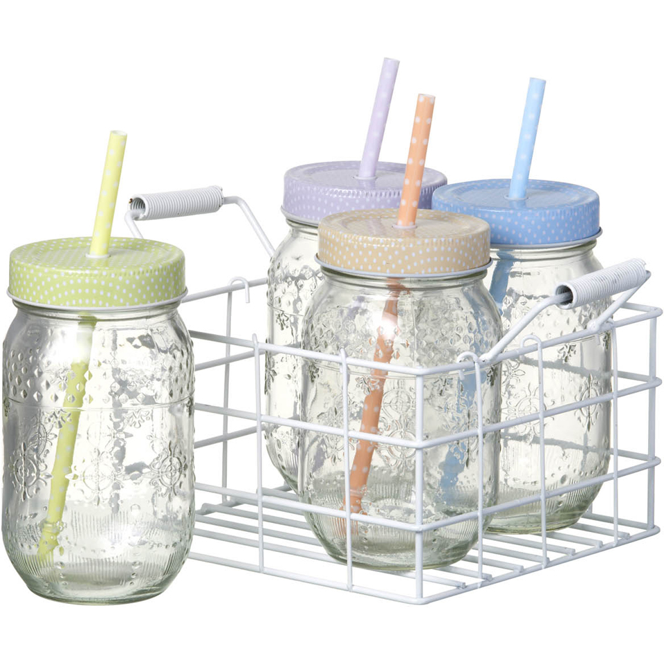 Parlane Spotty Jars With Straws Set Of 4 Iwoot