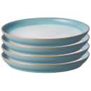 Denby Azure Haze 4 Piece Coupe Medium Plate Set