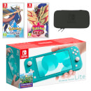 Nintendo Switch Lite (Turquoise) Pokémon Sword and Pokémon Shield Double Pack