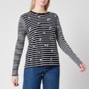 Superdry Women's Stripe Long Sleeve Embellished Top - Navy Stripe