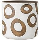 Bloomingville Circle Pattern Flower Pot - White/Terracotta