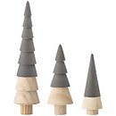 Bloomingville Wooden Christmas Tree Decoration - Set of 3 - Grey