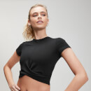 MP Women's Power Short Sleeve Crop Top - Black - XS
