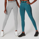 Black Friday Limited Edition Curve Leggings (2 Pack - Silver/Lagoon) - M