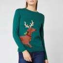 Joules Women's Festive Sausage Dog Jumper - Green