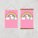 Happier Than A Unicorn Eating Cake Art Print