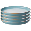Denby Azure Haze 4 Piece Coupe Dinner Plate Set