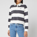 Levi's Women's Letterman Rugby Long Sleeve Cropped Top - Amy Stripe Forged Iron