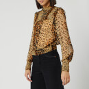 Free People Women's Roma Blouse - Brown Leopard