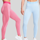 Limited Edition Birthday 2 Pack Curve Leggings - Super Pink/Sky Blå