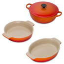 Le Creuset Classic Cast Iron and Stoneware 3 Piece Dish Set - Volcanic
