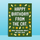 Happy Birthday From The Cat Greetings Card