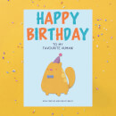Happy Birthday To My Favourite Human! Cat Version Greetings Card