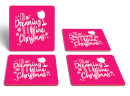Dreaming Of A Wine Christmas Square Coaster Set