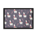 Llama Candy Cane Christmas Party Entrance Mat
